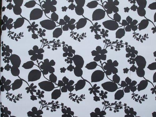 Nappe ovale en PVC/vinyle Motif fleurs Noir/blanc 140 x 250 cm