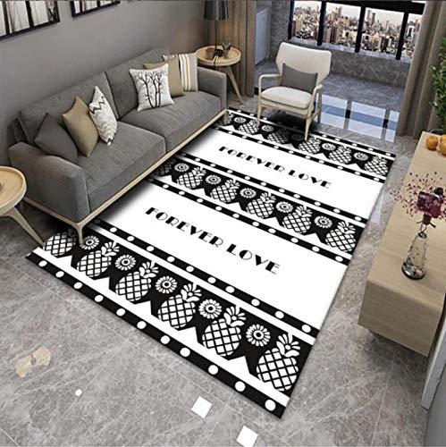 Tappeto stampato con lettere di ananas, soggiorno, divano, zona antiscivolo, per camera da letto, balcone, resistente all'usura, in poliestere, 80 x 160 cm