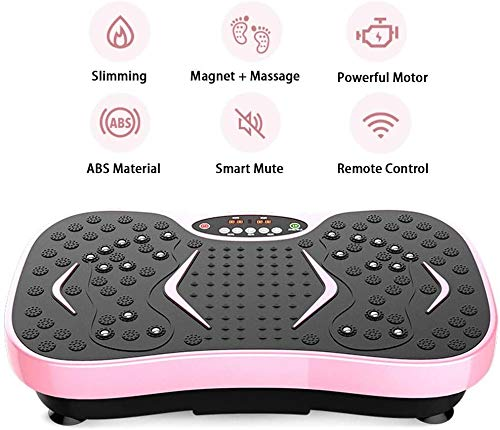 HWZQCYP Fitness Vibrationsplatte Trainingsmaschine Rosa, Vibrationsplattform Power-Fußmassage, Fernbedienung, Widerstand-Bänder, 99 Level, for Home Fitness & Weight Loss, Last 120 KG