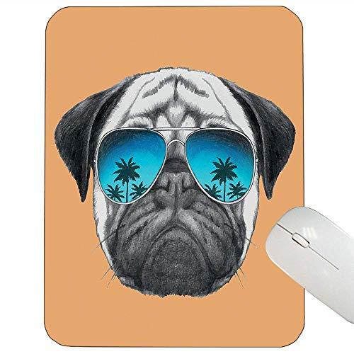 Mops-Stützmausunterlage Hund mit reflektierenden Flieger-Palmen-tropischer Umwelt-kühlem Haustiertier-Mausunterlage Schwarz-Orangen-Blau,Gummimatte 11,8