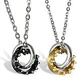 OIDEA Conjunto de 2 parejas de acero inoxidable Rose Collares para plateado, Plata