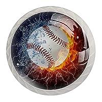 4個のキャビネットノブクリスタルガラスの引き出しハンドルスポーツ野球 ドレッサーデスクキッチンドア用