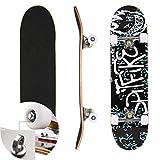 Skateboard Komplettboard für Kinder Jungendliche und Erwachsene Werkzeug ABEC-7 Kugellager und 8-lagigem Ahornholz Funboard 78.5 x 19.5 x 9.5cm Belastung 100 KG für Anfänger und Profis (Color5)