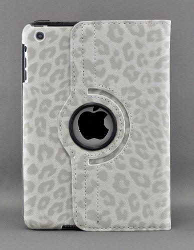 LiViTech (TM) Series diseño de Leopardo 360Degree rotación Funda de Piel sintética para Apple iPad (iPad Air, Color Blanco)