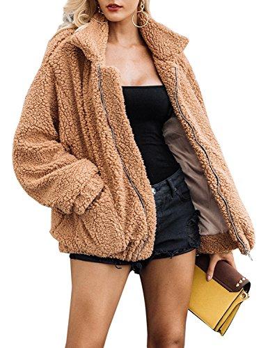 Glamaker Women's Wram Faux Fur Oversized Coat Fluffy Outwear Jacket with Long Sleeves Light Camel