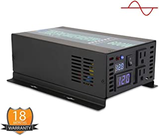 Pure Sine Wave Inverter 600Watt 12V DC to 120V AC Power Converter 1200W Surge