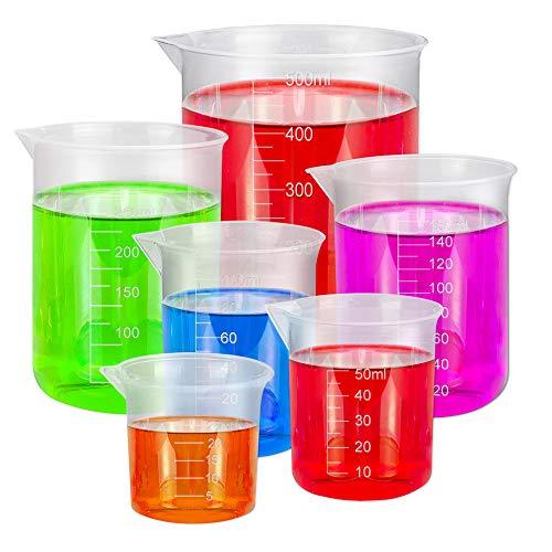 BUZIFU 6 Stück Messbecher Plastik, Transparent Labor Messbecher Set 25ml 50ml 100ml 150ml 300ml 500ml Labor Werkzeuge für Flüssigkeit