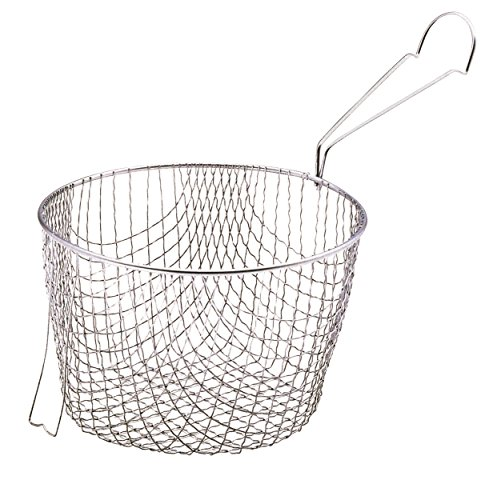 KitchenCraft Extra Deep Fryer Basket, Stainless Steel, Designed to fit 20 cm (8-inch) Pans