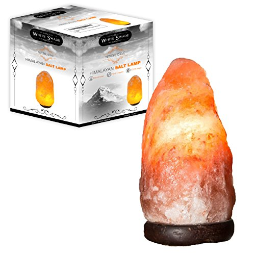 WhiteSwade Pink Crystal Himalayan Salt Lamp with UL Certified Dimmer Switch.Wood Base and 15W Bulb, 6 ft Cord. Rock Crystal Hand Crafted. Perfect Gift Idea. Popular Feng Shui Decor