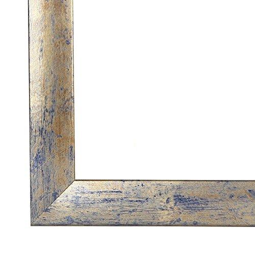 Olimp Bilderrahmen 60x80 oder 80x60 cm in BLAU Silber BLAU AntiReflex Kunstglas und Rückwand, 35 mm breite MDF-Leiste mit Dekor Folienummantelung
