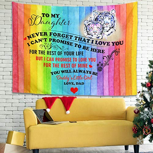 superyu Tiger To My Daughter Love Intricate Tapestries Colcha de picnic manta con arte natural decoración para el hogar para múltiples escenas blancas, 150 x 149 cm