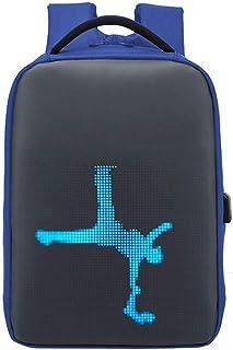 Mochila LED inteligente WiFi de 15,6 pulgadas, pantalla LED programable impermeable, 20 L, gran capacidad, mochila escolar con carga USB, regalo para niño y niña (azul marino)