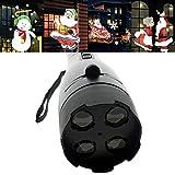 WUYEA Christmas Projection Torcia Proiettore Animato A LED per Paesaggio Batteria A 4 Carte Motorizzato