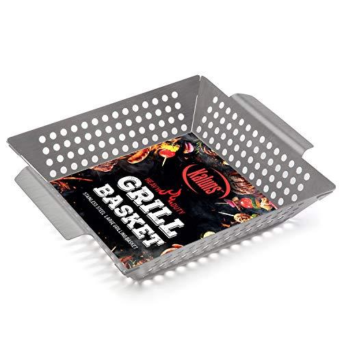 Kaluns Grill Basket, Best Grilling Basket for Vegetables and Shrimp, Heavy-Duty Stainless Steel...