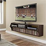 Pemberly Row 58' Floating TV Stand Shelf Wall Mounted Entertainment Center in Espresso