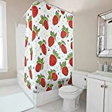 Sweet Luck Erdbeere Obst Duschvorhang Anti-Schimmel Wasserdicht Waschbar Stoff Vorhang Polyester Textil Badewannevorhänge mit Vorhanghaken für Dusche White 180x200cm