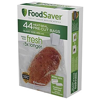 FoodSaver 1-Quart Pre-Cut Vacuum Seal Bags with BPA-Free Multi-Layer Construction for Food Preservation & Sous Vide Cooking, 44 Count
