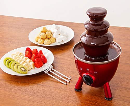 イチゴ、バナナ、リンゴ、キウイなどのフルーツをはじめとして、クラッカー、バームクーヘン、マシュマロなどアイデア次第でいろいろなものが楽しめます。できるだけ水分が少ないモノがおすすめです。フルーツなどは水分を拭き取ってから使うとチョコレートにダマができにくくなります。