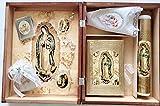 Vela para Primera Comunion de la Virgen de Guadalupe para Nina con Caja de Madera con 12 Recuerdos con Libros
