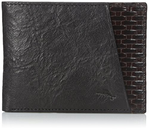 Tommy Bahama Men's 100% Leather Slimfold Wallet, Black, One Size