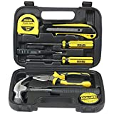 DOWELL Small Homeowner Tool Set 9 Pieces General Household Small Hand Tool Kit with Plastic Tool box Storage Case