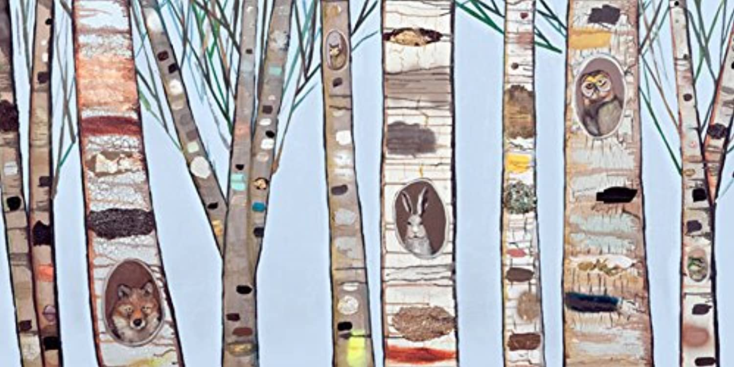 GreenBox Art + Culture Ice bluee Birch Trees Canvas Wall Art by Eli Halpin, 36 x 18