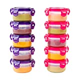 Elacra Baby Food Storage Containers Weaning Freezer Pots Small Plastic Set of 10-3.4 Ounce Pink and Purple