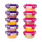 Elacra-Petites boîtes en plastique pour conservation d'aliments pour bébé, peuvent être placées dans un congélateur 10cl environ, rose et violet, lot de 10