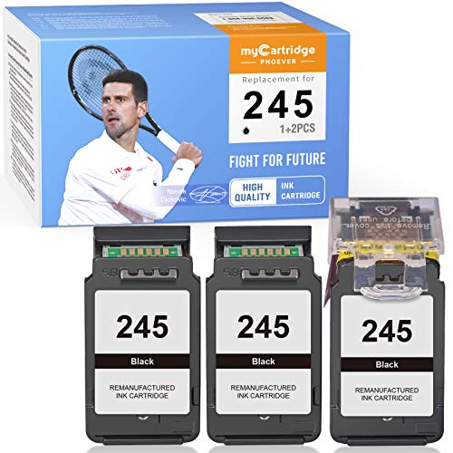 myCartridge PHOEVER Remanufactured Ink Cartridge Replacement for Canon PG-245 245 PG245 for Pixma TS3122 TS3320 TS3322 TS202 MX490 MX492 TR4520 TR4522 MG2522 (1 Print Head + 3 Cartridges, 3-Black)