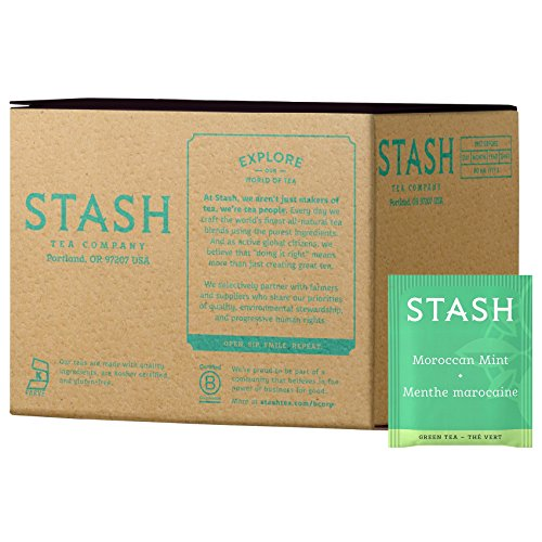 Stash Tea Moroccan Mint Green Tea, 100 Count Box of Tea Bags Individually Wrapped in Foil (packaging may vary), Medium Caffeine Tea, Green Tea Blended with Mint, Drink Hot or Iced
