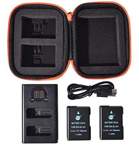 EN-EL14 EN-EL14A DSTE バッテリーパック 2個 + デュアル バッテリー 充電器 + ポータブル保護バッグ に対応 Nikon D3100 D3200 D3300 D3500 D5100 D5200 D5300 D5500