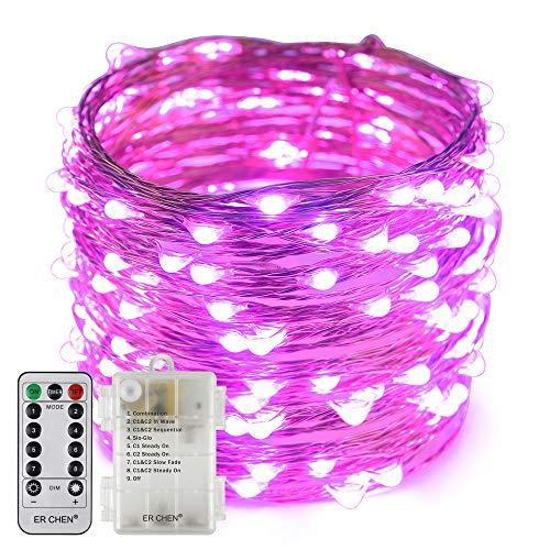 Erchen Batteriebetrieben LED Lichterkette, 66 FT 200 LED 20M dimmbare Kupfer Draht Lichterketten mit Fernbedienung 8 Modi Timer für Innen Außen Weihnachten Party (Lila)