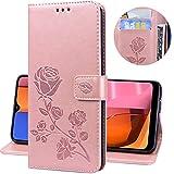 Miagon Rose Blume Hülle für Huawei P20 Pro,PU Leder Flip Schutzhülle Handy Tasche Wallet Case Cover Ständer mit Magnetverschluss,Rose Gold