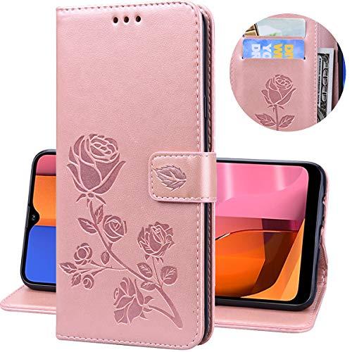 Miagon Rose Blume Hülle für Samsung Galaxy S7,PU Leder Flip Schutzhülle Handy Tasche Wallet Case Cover Ständer mit Magnetverschluss,Rose Gold