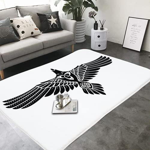 Area Rug 39x60in The Raven of Odin in Norse Celtic Style Soft Flannel Microfiber Bathroom Carpet Non-Slip Floor Mat Bathtub Accessories CBB