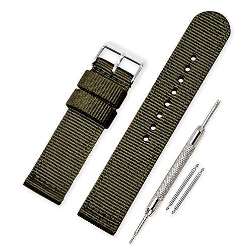 Vinband Correa Reloj Calidad Alta Lienzo Correa Relojes Militar del ejército - 18mm, 20mm, 22mm, 24mm Correa Reloj con Hebilla de Acero Inoxidable (20mm, Army Green)