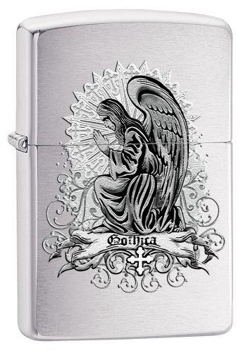 Zippo Feuerzeug 60002802 PL Goth Angel Benzinfeuerzeug, Messing, Street Chrome, 1 x 3,5 x 5,5 cm