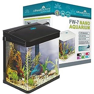 All Pond Solutions Nano Fish Tank Aquarium/LED Lights, Small, 7 Litre, Black:Animalnews