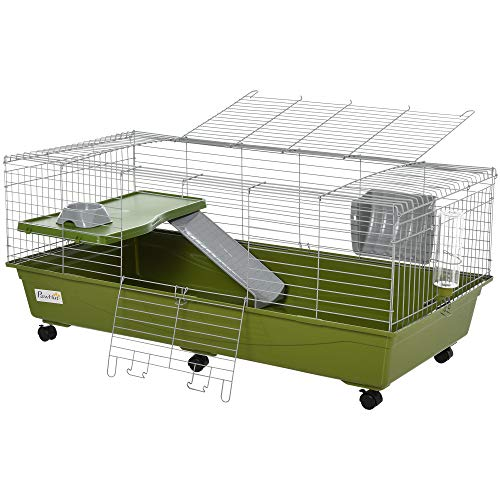 PawHut 46.75' Small Animal Cage Rabbit Chinchilla Guinea Pig Hutch Pet Play House with Platform,...