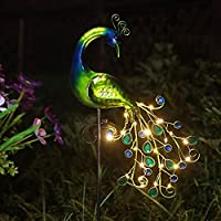 Jjalights Sunshine Solar Waterproof Metal Garden Peacock Lights