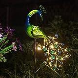 Solar Garden Lights Metal Peacock Garden...