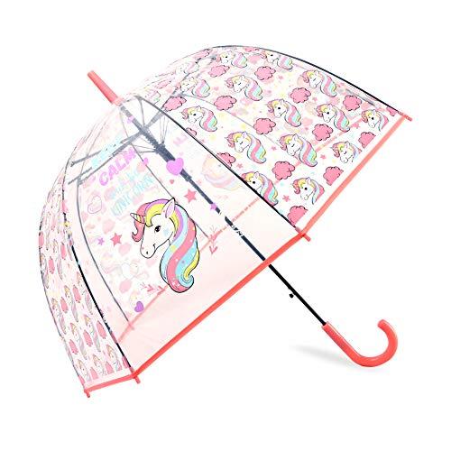 MingYuHui Unicorn Bubble Umbrella Transparent Dome Umbrella Romantic Clear Wedding Umbrella Auto Open Kids Umbrella for Outdoor or Events (Pink)