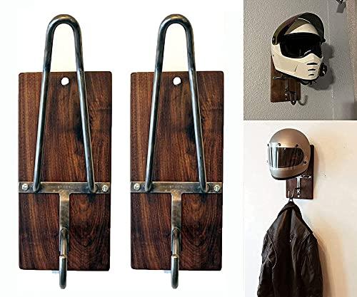 DSFKS New Wall-Mounted Motorcycle Helmet Rack & Jacket Hook,Motorcycle Accessories Helmet Holder Helmet Hanger,Universal Wall Mount Helmet Display Rack,For Coats, Caps & Helmet Mount (2PCS)