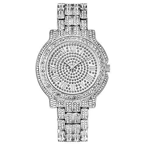 Qiujiam Coppia Guarda Bling Bling Moda Gioielli Crystal Diamond Strass Orologi per Uomo Diamond Watch Luxury Full Diamond Lady Guarda Strass Bracciale in Acciaio Inossidabile Bracciale da Polso