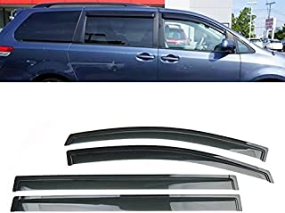 New For 2011 2012 2013 2014 2015 2016 2017 Toyota Sienna Set of 4Pcs Smoke Window Sun Rain Visor Vent Guard Deflector Shade