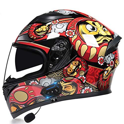SJAPEX Bluetooth Integrado Modular Casco de la Motocicleta ECE/Dot certificación Seguridad estándar-Cara Completa Racing Casco de la Motocicleta General E,M=55~57cm