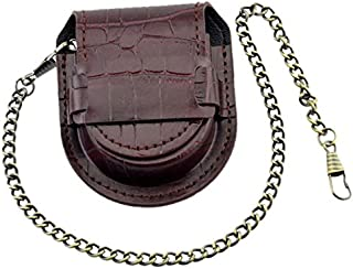 TOOGOO Vintage Leather Chain Pocket Watch Holder Storage Case Box Red Brown