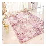 La alfombra de Pelo Largo Salón Sofá Mesa de Estilo nórdico Dormitorio de Noche Peluda Suave teñido HAODAMAI (Size : 80x120cm)