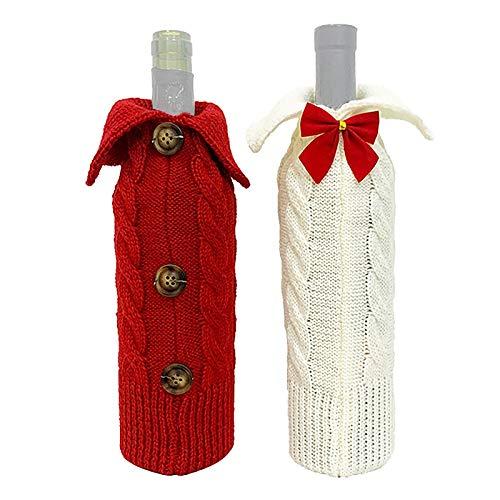 Gesh 2 fundas para botellas de vino de Navidad, para vestidos de Navidad, decoración de mesa
