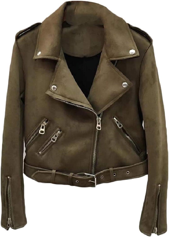 Abetteric Women Cropped Faux Suede Zipper Outwear Skinny PU Leather Jackets